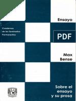 Bense, Max (1942) Sobre El Ensayo y Su Prosa