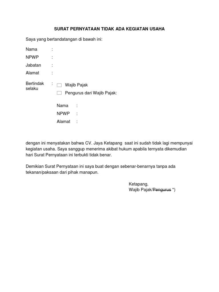 Surat Pernyataan Tidak Ada Kegiatan Usaha