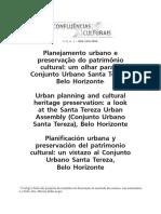 ARTIGO - Planejamento Urbano e Preservação Do Patrimônio Cultural - Um Olhar Para o Conjunto Urbano Santa Tereza, BH