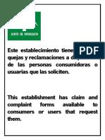 Cartel Informativo Existencia de Hojas de Quejas y Reclamaciones en Papel.pdf