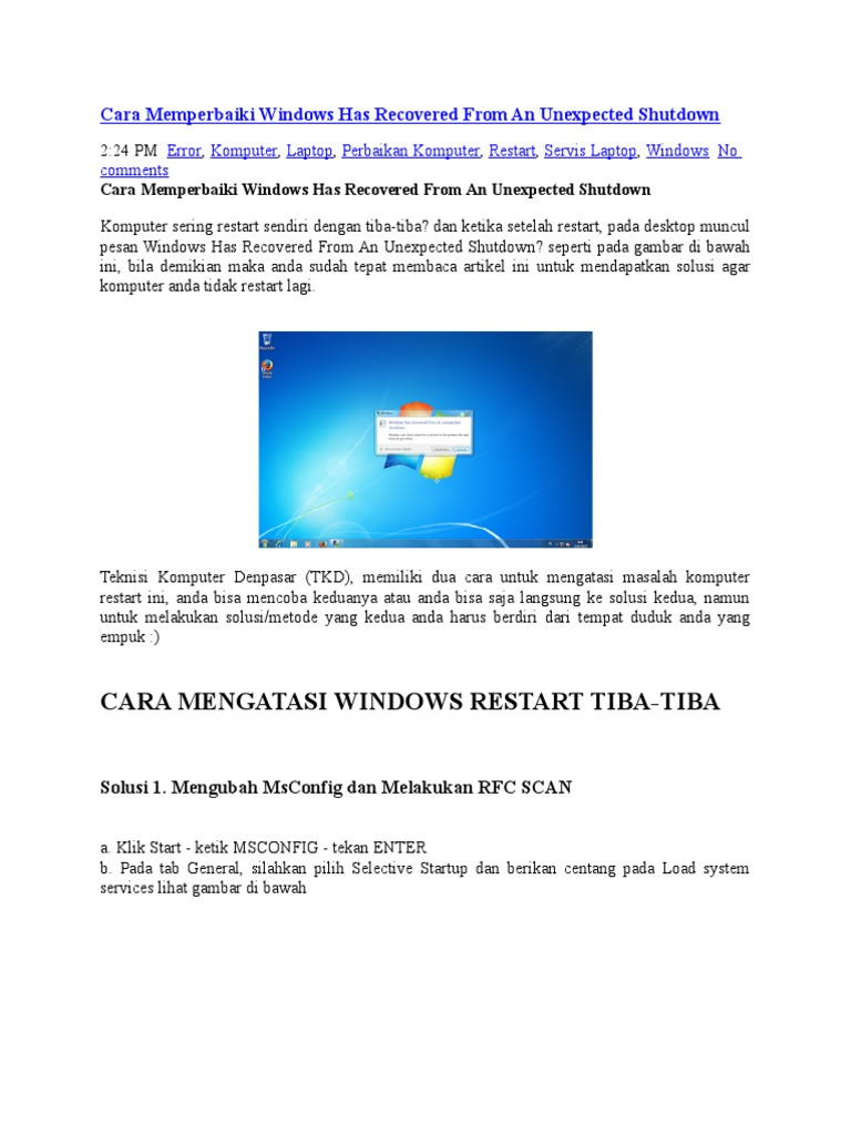 Cara Memperbaiki Windows Has Recovered From An Unexpected
