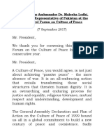 Statement in the GA on the Culture of Peace. United Nations