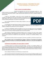 Questions du groupe Rassembler Pour Agir - Conseil Municipal du 19/09/2017