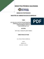 Estudio de Costos Por Mitigación de Impacto Ambiental