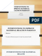 Interventions to Improve Maternal Health in Pakistan