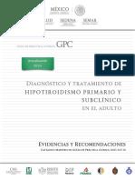 Diagnostico y tratamiento de hipotiroidismo primario y subclinico en el adulto
