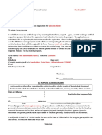 Passport Office Letter for Certified Copy of Passport Application