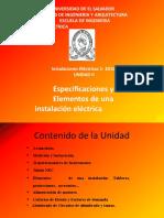 2016 UNIDAD II  IEE 115-Especificaciones y Elementos de una instalación elécctrica.pptx
