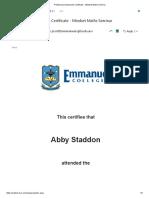 professional standards certificate - mindset maths seminar