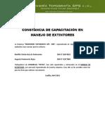 Constancias de Capacitacion Evacuacion y Prim Aux - Comercial PETOS