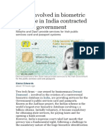 Firms Involved in Biometric Database in India Contracted by Irish Government