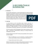 Reintegro Del Crédito Fiscal en Los Activos Fijos