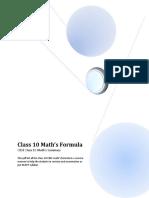 Maths Formula Class10