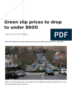 Green slip prices to drop to under $600