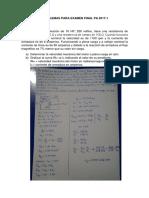 Problemas para el examen final 2017-1 UNI FIM