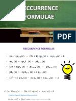 mathametics recurrence formulas
