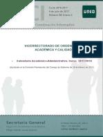 UNED - Calendario Académico-Administrativo. Curso 2017/2018