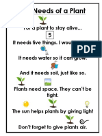 the needs of a plant  1