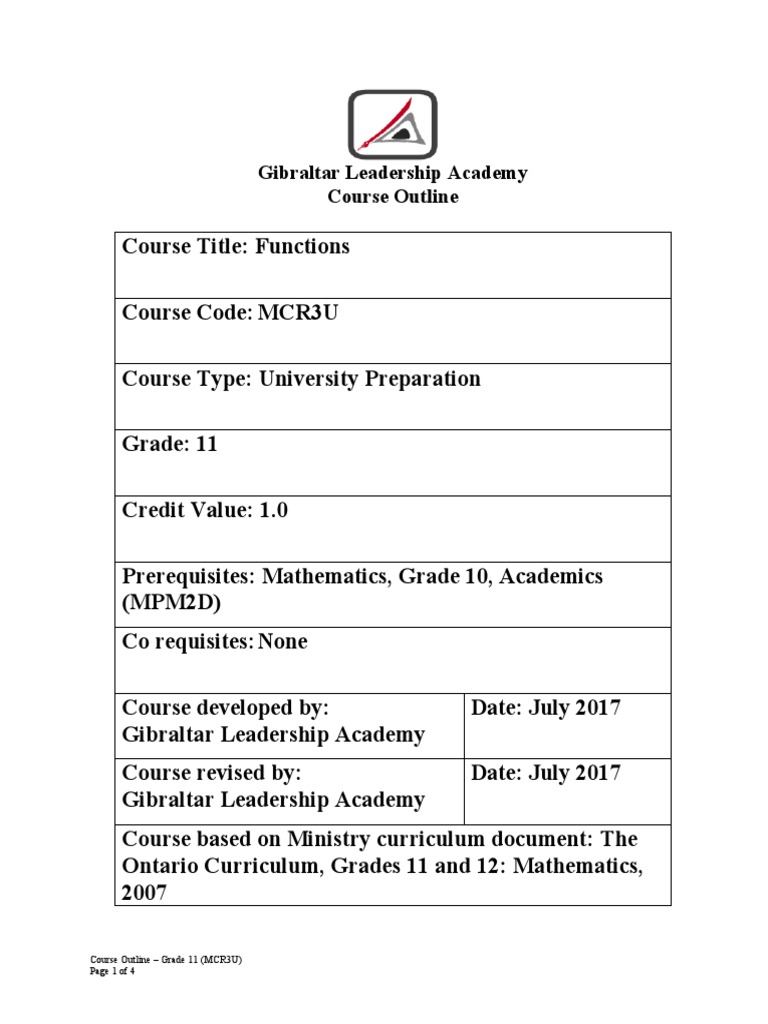 mcr3u course outline | Trigonometric Functions | Exponentiation