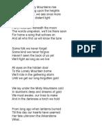 Dwarf Song Misty Mountain