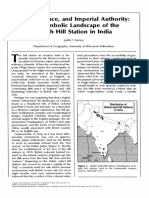 KENNY, J. Climate, Race, And Imperial Authority. the Symbolic Landscape of the British Hill Station in India