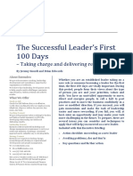 The Successful Leaders First 100 Days - Entendeo Briefing