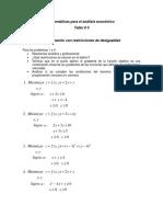 Taller v Optimización Con Restricciones de Desigualdad