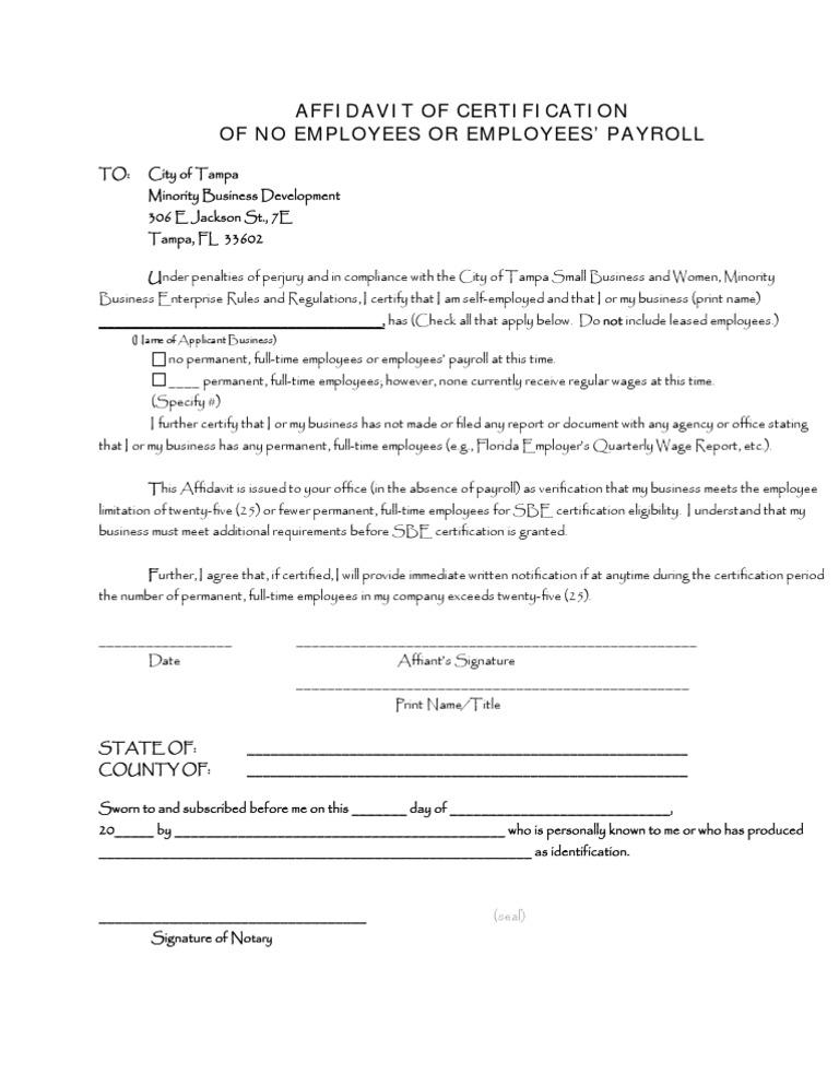 affidavit of no of employees