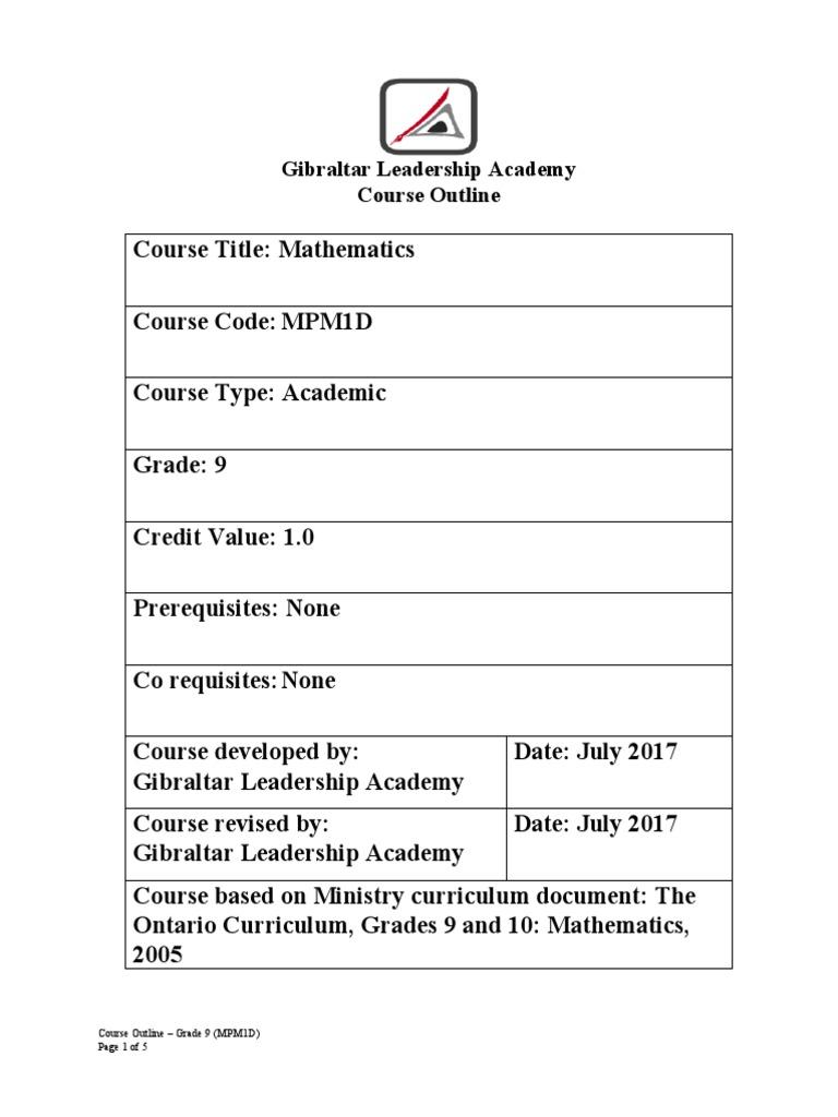 mpm1d course outline   Educational Assessment   Equations