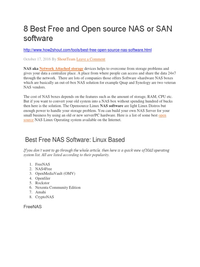 8 Best Free and Open source NAS or SAN software