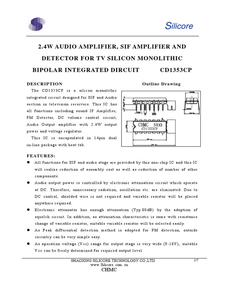 Cd1353cp1 Detector Radio Amplifier Volume Control Circuit