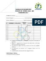 Planilla Inscripcion Futbol Sala