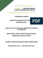 Analizar en La Actualidad El Derecho Del Trabajo en Honduras
