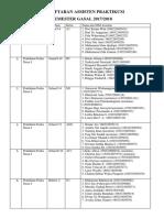 Pendaftaran Assisten Praktikum Semester Gasal 2017-2018