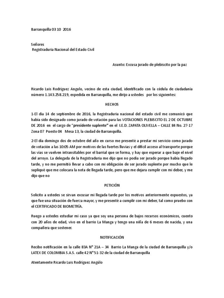 Excusa Jurado de Votación, Carta de Solicitud (Registraduría Nacional)