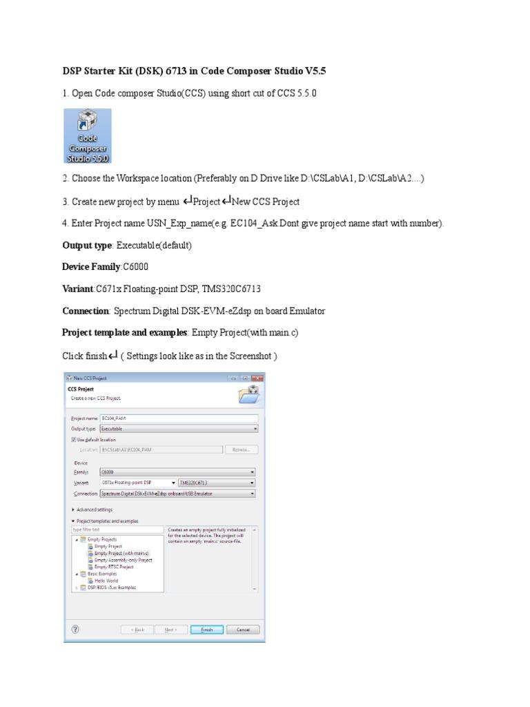 DSK 6713 CCS V5 5 Procedure | C (Programming Language) | Digital