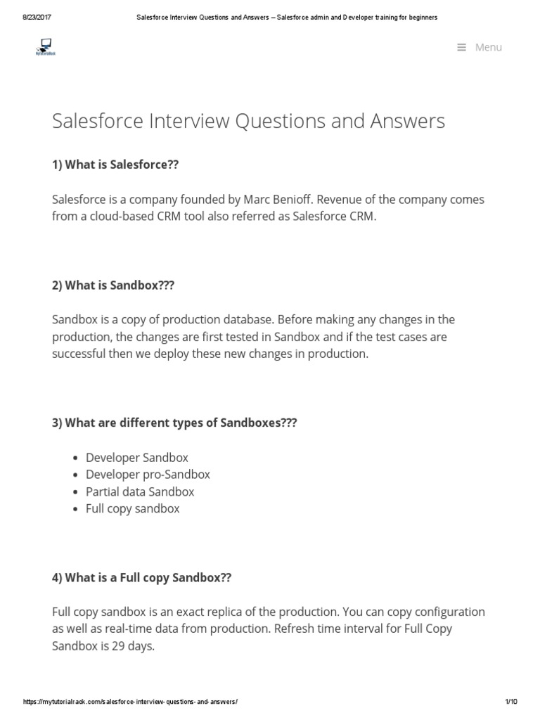 Salesforce Interview Questions and Answers – Salesforce Admin and ...
