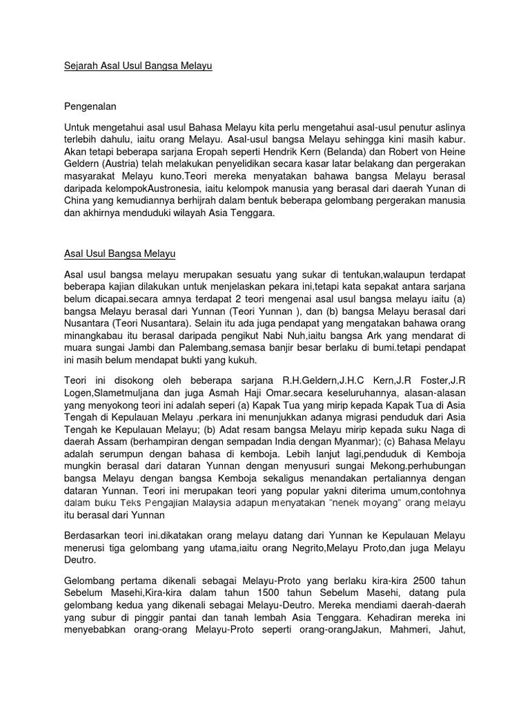 Sejarah Asal Usul Bangsa Melayu