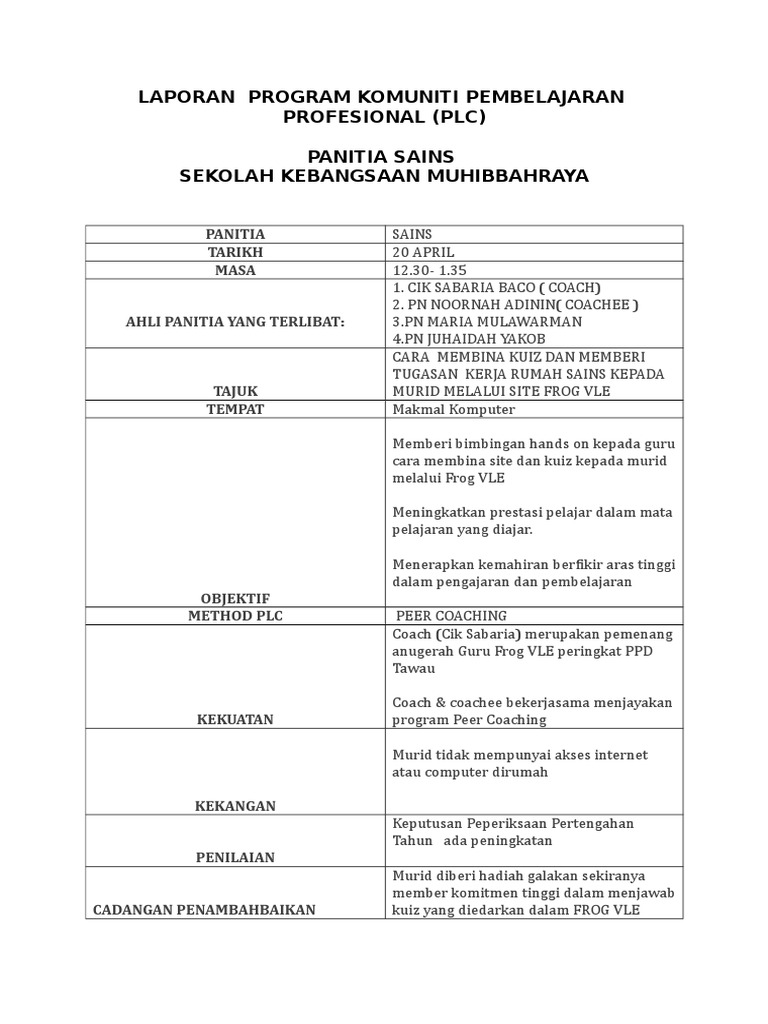 Laporan Plc Panitia Sains