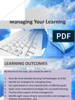 Outline for Topic 1 - Managing Your Learning