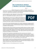 OPINIÃO_ Política de Gestão de Resíduos Sólidos Urbanos_ Maior Desafio é Envolver Cidadão - Jornal Da Cidade