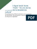 Monseñor Aguer Lanzó Duras Críticas a Tinelli
