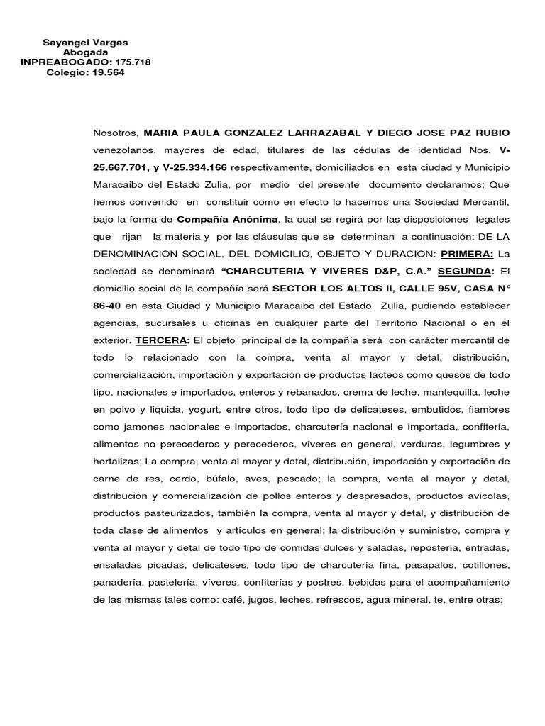 Acta Constitutiva Charcuteria Y Viveres D P 1 Compartir Finanzas Alimentos