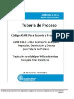 Capitulo Vi Codigo Asme b31.3, 2014, En Español