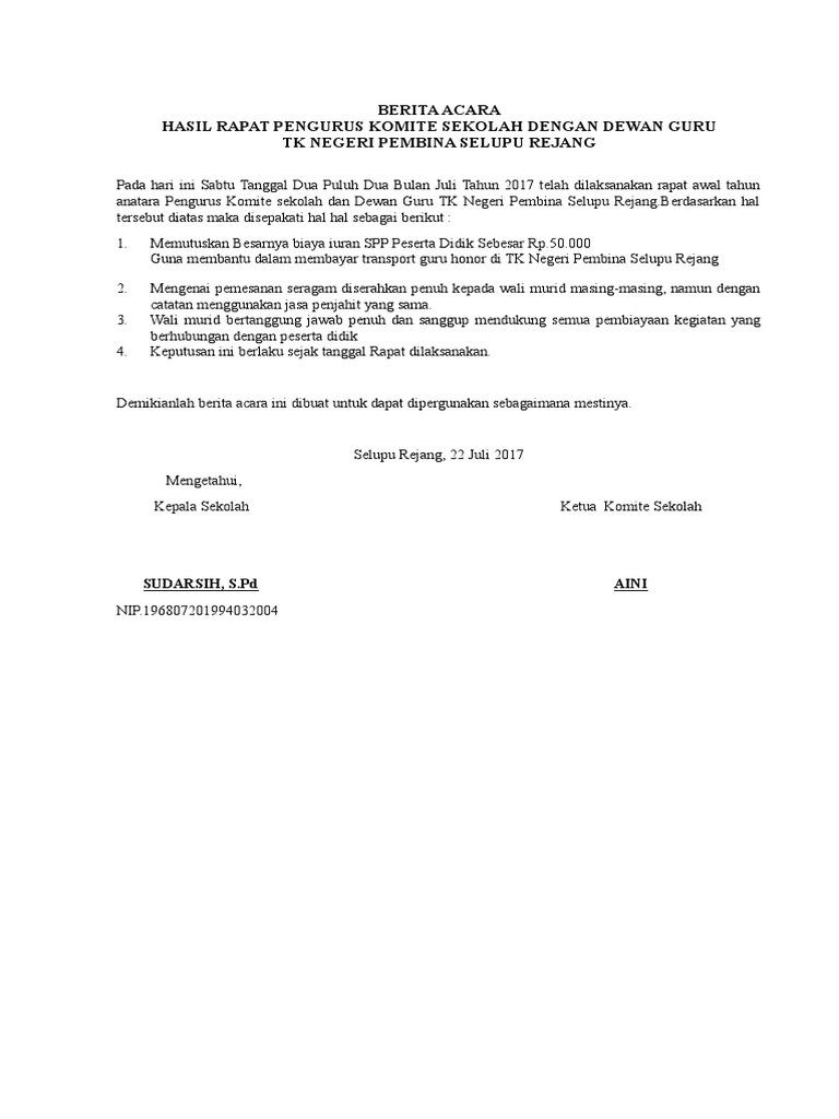 Berita Acara Rapat Komite 22