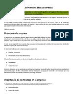 Importancia de Las Finanzas en La Empresa