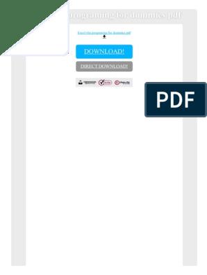 Excel Vba Programing for Dummies PDF | Visual Basic For