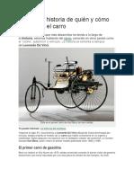 Conoce La Historia de Quién y Cómo Se Inventó El Carro