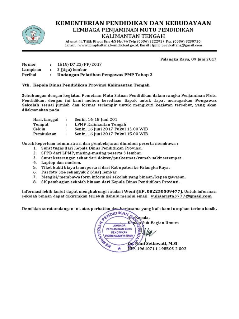 Undangan Bimtek Pengawas Pmp Tahap 2 Provinsi