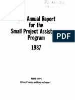 Peace Corps Small Project Assistance Program USAID Annual Report 1987